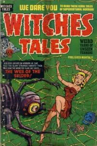 araignée dans la BD (bande dessinée) - couverture de Witches Tales n° 12 publiée chez Harvey Comics en juillet 1952.
